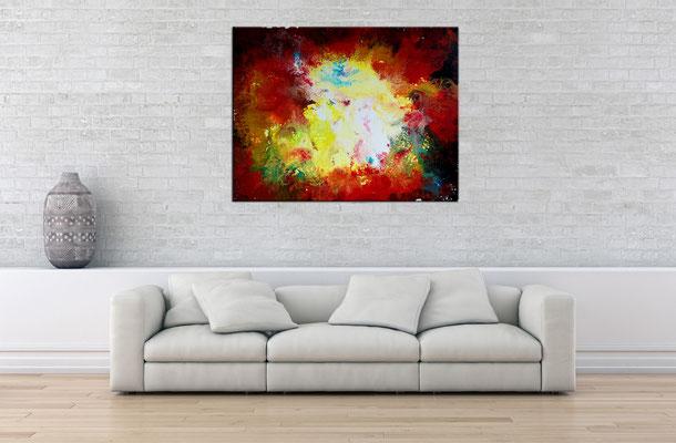 Urknall 4 abstraktes Wandbild rot gelb Malerei Kunstbild Original Unikat 80x100