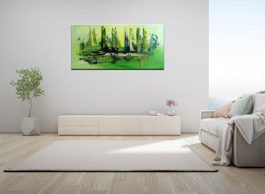 Abstrakte Kunst Bilder Grün Malerei Leinwandbild Acryl Gemälde 100x50