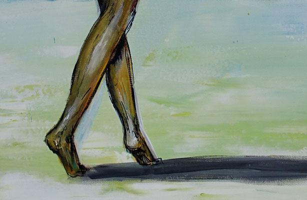 Suchend nackte Frau am Strand handgemalt Gemälde Erotik Malerei KunstLeinwandbild