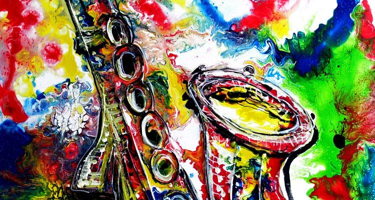 Saxophon Gemälde Malerei Instrument Musikbild Kunst Wandbild Büro Praxis