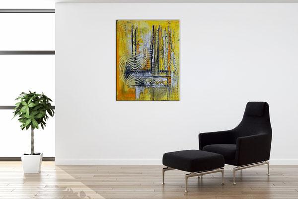 Abstraktes Wandbild gelb grau Gemälde Unikat Kunstbild 40x50