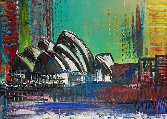 Sydney Skyline 2 abstrakt gemalt Oper Stadtbild Malerei