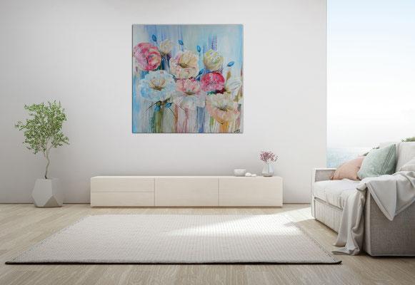 Pastellblumen Blüten Bild Wandbild handgemalt Blumen Malerei Acrylbild Gemälde 80x80x2 21-03