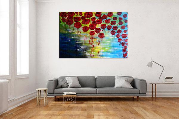 Wasserblüten Blumen Malerei abstrakt Blumenbild Moderne Kunst Blüten Bilder 120x80 06-21