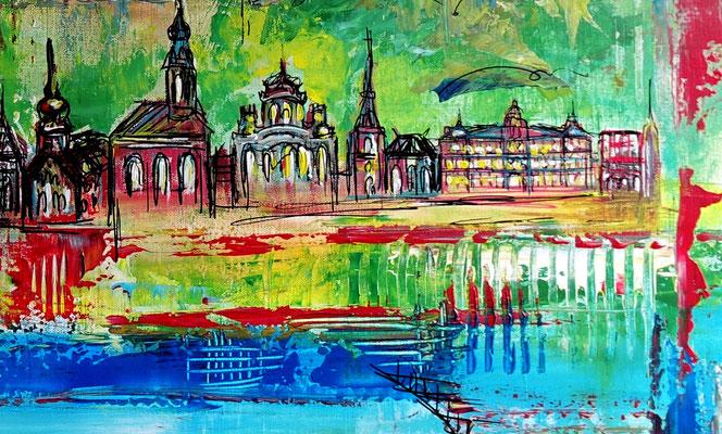 Salzburg Skyline Altstadt abstrakt gemalt Malerei Kunstbild Acryl Gemälde