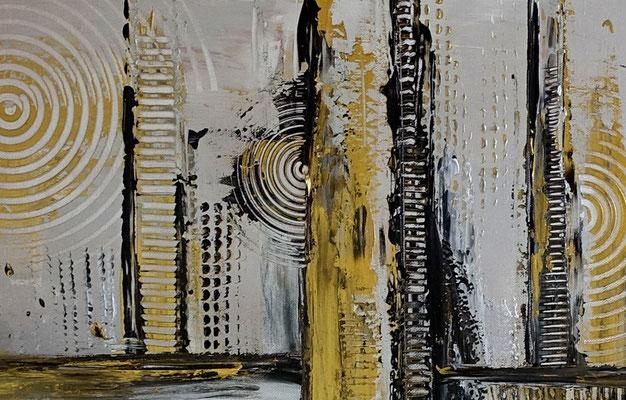 Luxus Stadt abstrakte Malerei Wandbild Silber Gold Acrylgemälde Unikat
