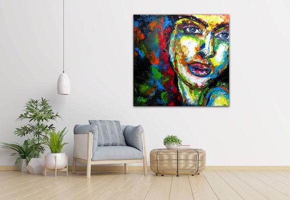 Uma Leinwandbild Gesicht Frau abstrakte Malerei Modernes Acryl bild Unikat