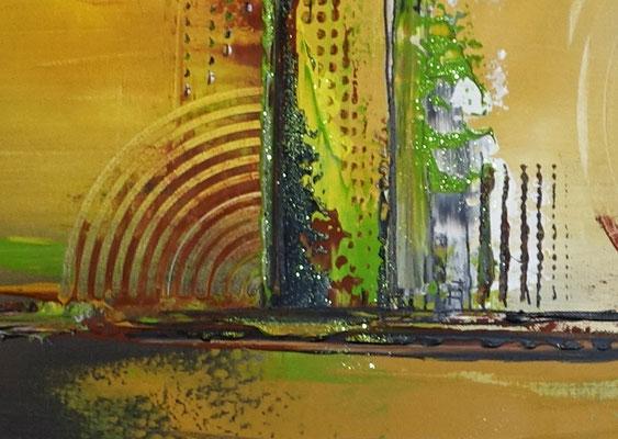 Cascaden Leinwandbild abstrakt gelb grün rot Acrylgemälde