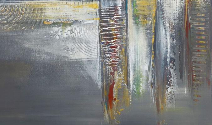 Dripping Gold abstraktes Wandbild Leinwandbild beige grau handemalt Acryl Gemälde 130x90