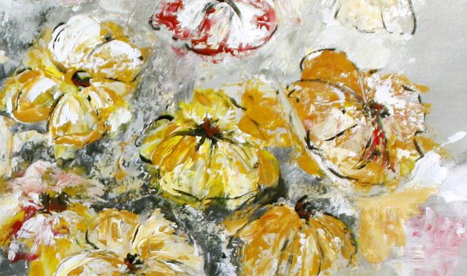 Blumenbild zweiteilig abstrakt xxl grau rot gelb Blumen Gemälde - Detail 1