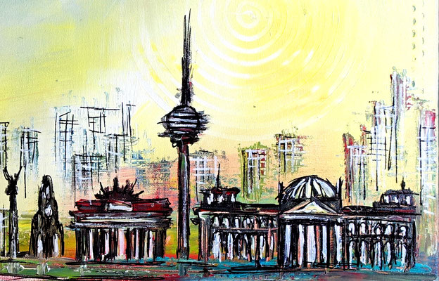 Berlin abstrakt gemalt Brandenburger Tor Original Gemälde Moderne Skyline Wandbild 100x80 - 21-06