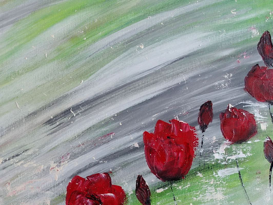 Mohnblumen Tanz Blumenmalerei Wandbild Blüten handgemalt Kunstbild Leinwandbild Acrylbild