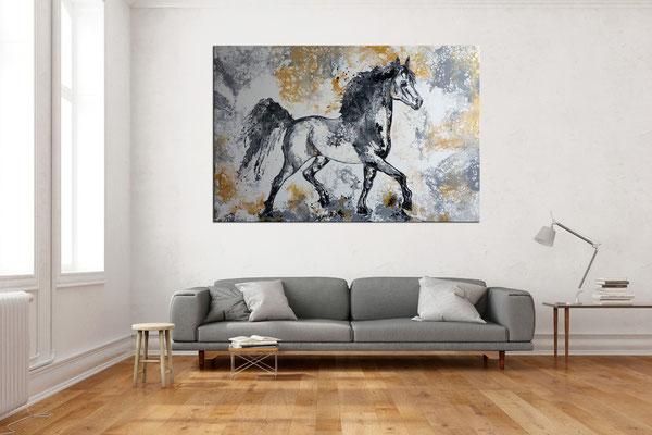 Pferdebild Gemälde Schimmel XXL handgemalt Unikat Galerie Keilrahmen