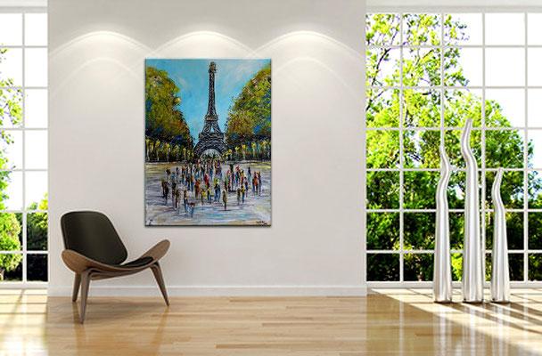 Paris Eiffelturm Malerei Bild Wandbild handgemalt Acryl Gemälde