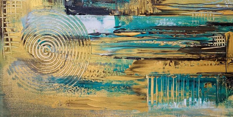 Goldmine abstrakte Wandkunst Wandbild petrol gold Moderne Malerei Kunstbild 120x80