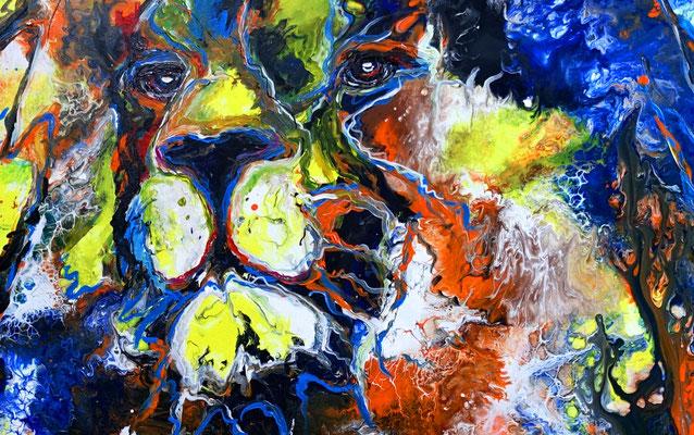 Simba Löwen Wandbild handgemalt Tier Malerei Tierbilder Original Acryl