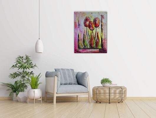 3 Tulpen hangemalt Blumen Malerei Acryl Blumenbild Gemälde 40x50