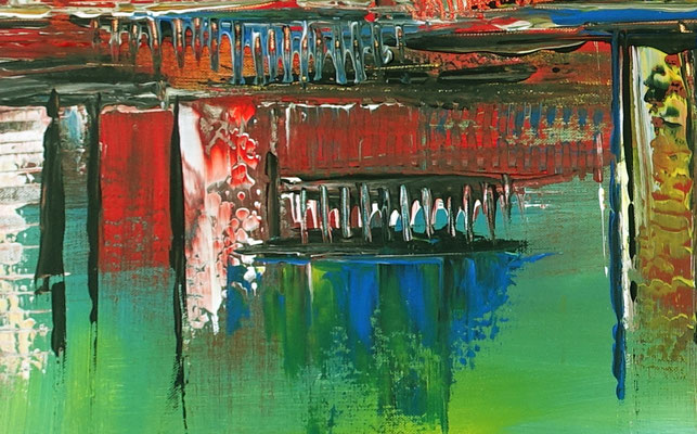 City Sunset abstraktes acrylbild gruen kunst bilder kaufen