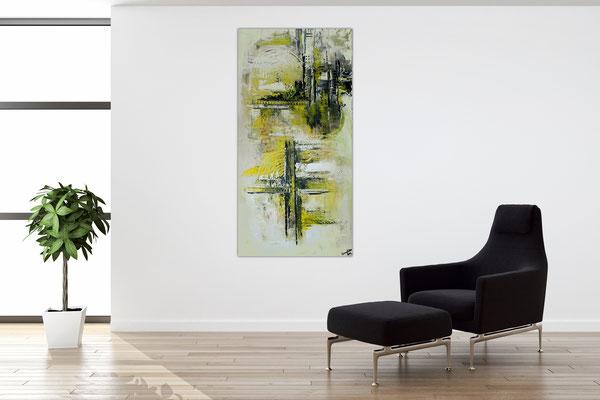 Infinion Abstrakte Malerei Wandbild Kunstbild grau 50x100 hochkant