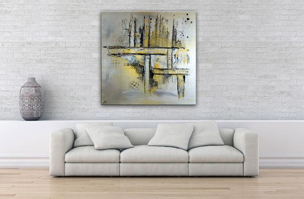 Silber Gold Sept Malerei abstrakt Bild Acrylbild 100x100
