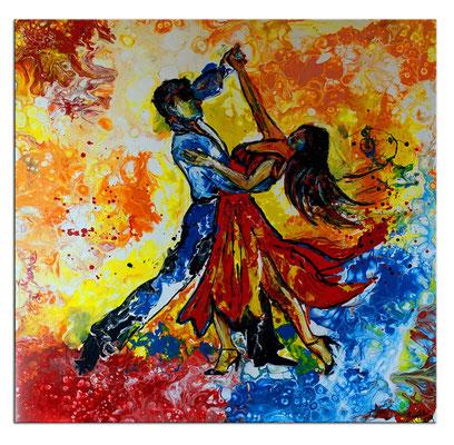 Tango Salsa Tänzer Bild handgemalt - Tanzbild Tanz Kunst Malerei Wandbild Acrylbild Gemälde