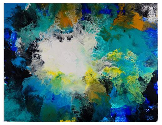 Flut Fluid Art Acrybild blau abstrakte Malerei