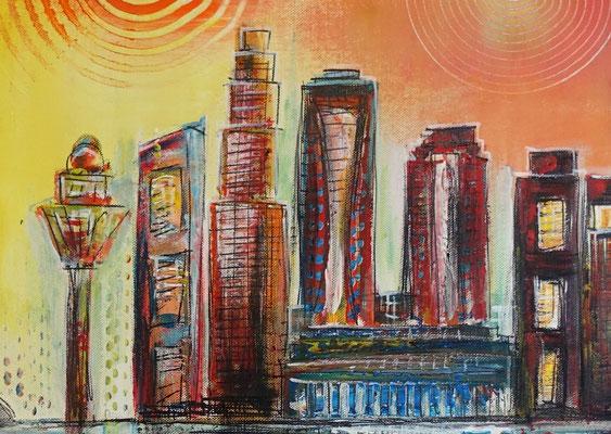 Singapur - Städtebild Gemälde Stadtbilder Malerei Skyline modernes Acrylbild