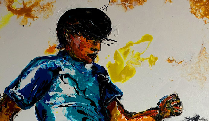 Fußball Knie Dribbeln abstrakte Sport Malerei Original Gemälde Kunst