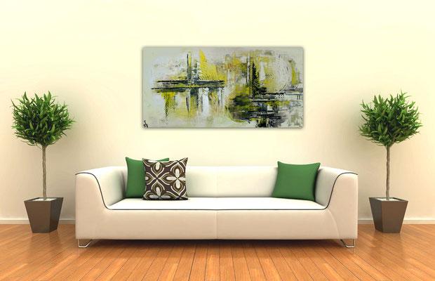 Infinion Abstrakte Malerei Wandbild Kunst bild Gelb grau 50x100 hochkant