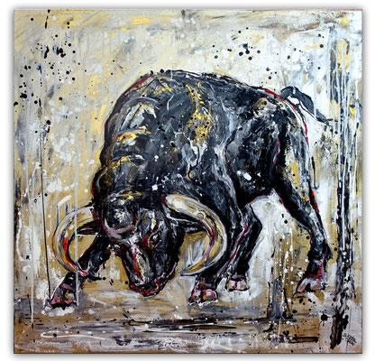 Rocky wilder Stier Bulle Malerei Tierbild handgemalt Gemälde Acrylbild Unikat