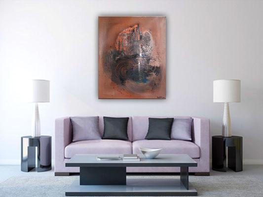 BRAUNE KREISE - Malerei Abstrakt - Original Bild Künstler braun ocker