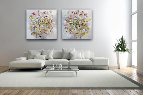 Blumenbild zweiteilig abstrakt xxl grau rot gelb Blumen Gemälde - wohn