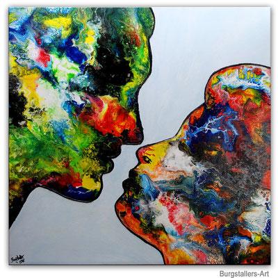 Der Kuss Mann Frau Liebespaar Liebesbild Gemälde Fluid Painting handgemalt Moderne Malerei