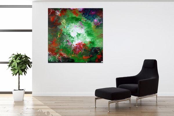 Spektrum Fluid Art abstrakte Kunst Moderne Malerei Original  Wandbild 80x80