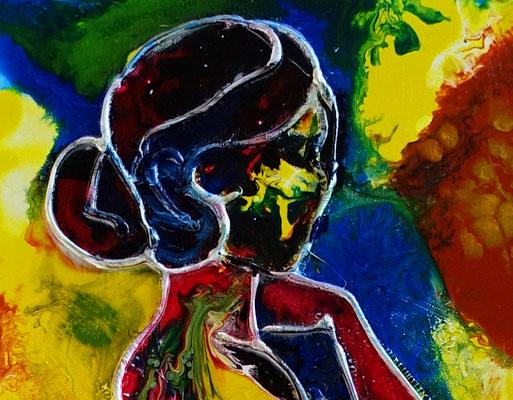 Fächer Frau Erotik Bild Gemälde Frau Women nackt Nude bunt gelb rot Acrylbild Malerei