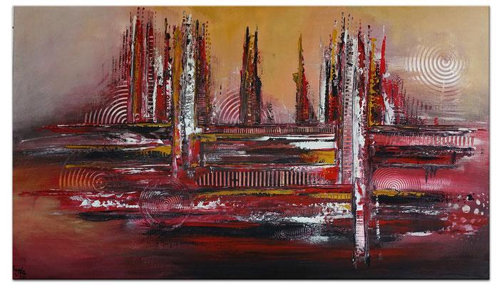 Denver abstrakte Skyline Leinwandbild rot