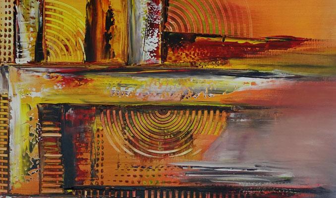 Offspring abstrakte Malerei orange Wandbild Leinwandbild Original