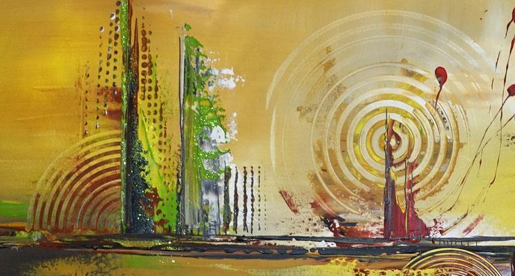Cascaden Leinwandbild abstrakt gelb grün rot Acrylgemälde handgemalt Wandbild 130x90