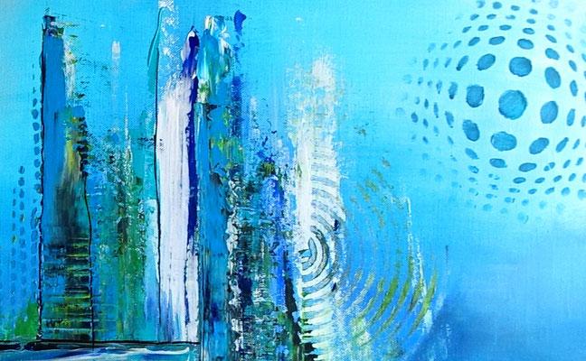 Meeresgrund abstraktes Leinwandbild blau grün handgemalt Original Gemälde
