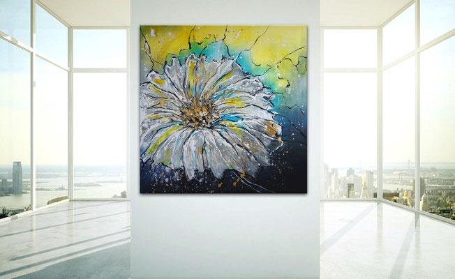 Flugsamen 80x80 blumenbild margerite blumen gemälde malerei gelb weiß