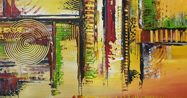 Cascaden Leinwandbild abstrakt gelb grün rot Acrylgemälde handgemalt