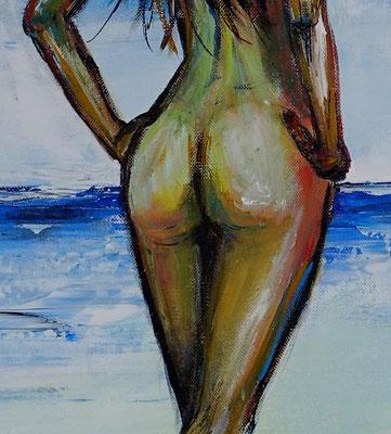 Suchend nackte Frau am Strand handgemalt Gemälde Erotik Malerei Kunst Bild