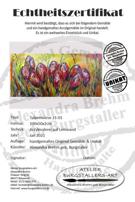 Tulpen BLumen Bild Wandbild Acrylbild Künstler Unikat handgemalt Original Gemälde 100x50x2cm 21.1