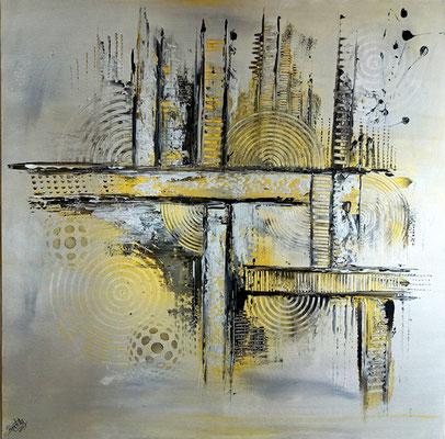 Silber Gold Sept Malerei abstrakt Bild Gemälde Acrylbild kunst