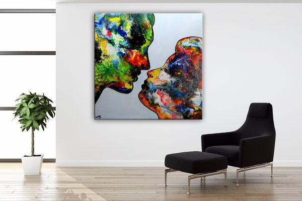 Der Kuss Mann Frau Liebespaar Fluid Painting handgemalt Moderne Malerei Leinwandbild