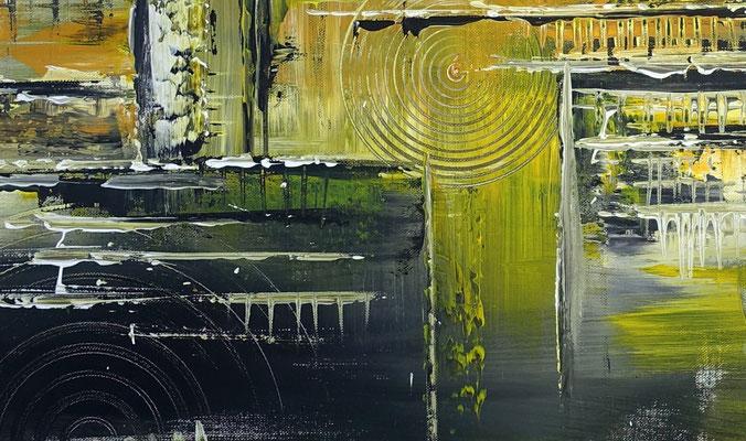 Sonnenstadt kuenstler bilder gemaelde abstrakt gelb acrylbilder abstrakt