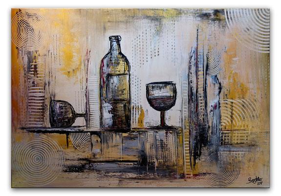 Wein Gläser Flasche abstrakt handgemalt 70x100 Original Kunst Bild Leinwandbild