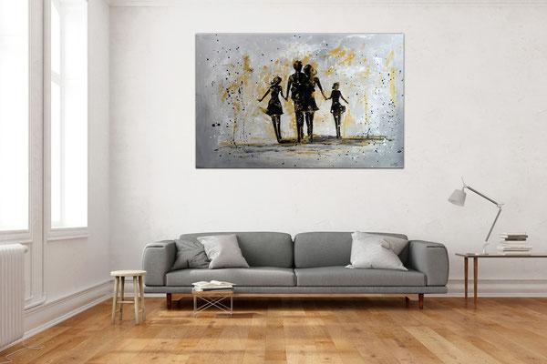 Familien Harmonie Menschen Eltern Kinder Bild Malerei Gemälde Modernes Kunst Unikat 120x80x2
