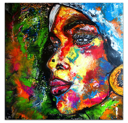 Romy abstraktes Frauengesicht gemaltes Porträt Malerei Acrylbild Original Gemälde