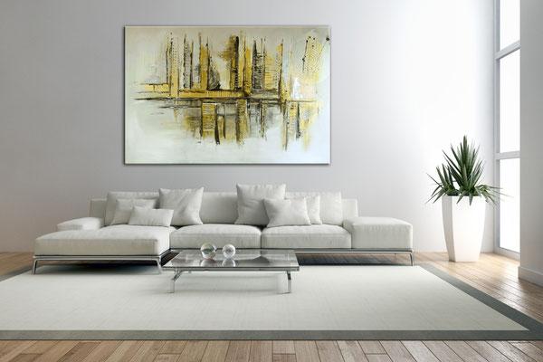 Goldenes Chaos abstraktes Acrylbild Kunstbilder Silber Gold Acrylgemälde kaufen